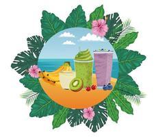 krans van tropisch fruit en smoothiedrank