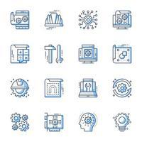 engineering lijntekeningen pictogramserie vector