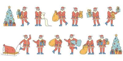 Kerstman met geschenken flat-design set vector