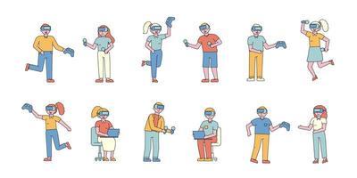 mensen die spelen met platte ontwerpset voor virtuele realiteit vector