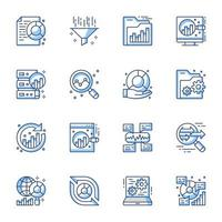 data analytics lijntekeningen icon set