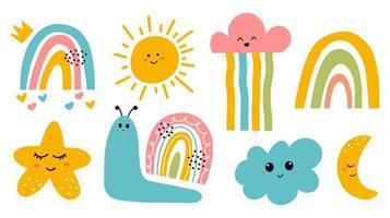 scandinavische print met schattige lachende maan, wolk, ster, regenboog