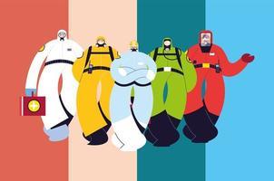 mannen in beschermende pakken, veiligheidskleding