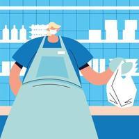mannelijke ober met gezichtsmasker, veiligheid en preventie