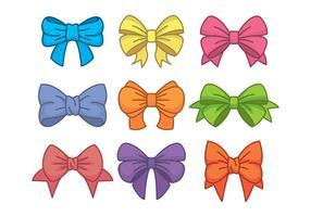 Hair Ribbon Icons Set vector