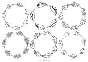 Schetsmatig Decorative Leaf Frames vector