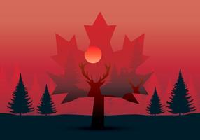 Nature Life Double Exposure Style vector