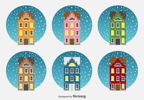 Kerstmis Nederland Huizen Vector Icons
