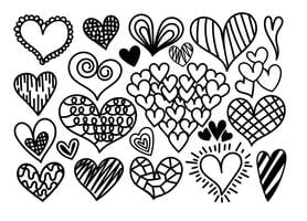 Vector Cartoon Hearts Icons