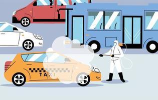 man met een beschermend pak desinfecteert voertuigen vector