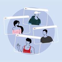 groep mensen praten in videocall-conferentie