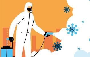man draagt een beschermend pak en desinfecteert de stad