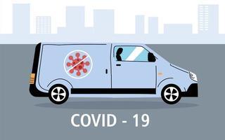 service van desinfectie door coronavirus vector