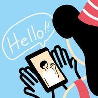 vrouw met feestmuts en smartphone videochat