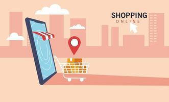 smartphone vertegenwoordigt voorkant van winkel winkel