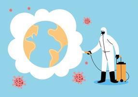 man met een beschermend pak desinfecteert de wereld vector