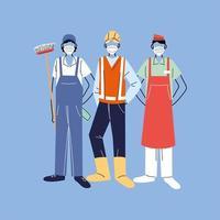 verschillende beroepen mensen die gezichtsmaskers dragen