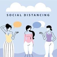 vrouwen praten met afstand om covid te voorkomen 19