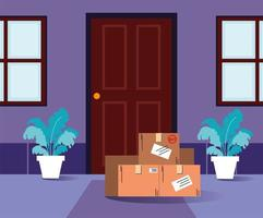 dozen met aankopen staan voor de deur