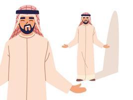 Arabische man in verschillende poses, diversiteit of multicultureel vector