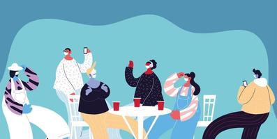groep mensen met maskers die drinken en vieren