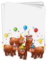 papieren sjabloon met schattige dieren in feestthema vector