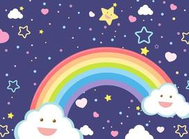 lege regenboog met smileysterren vector
