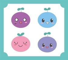 kawaii emoji fruit samenstelling vector