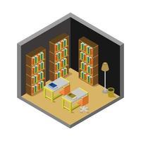 isometrische bibliotheekkamer