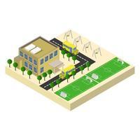 isometrische school op een witte achtergrond