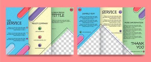 set brochure met vol kleur dubbele zijden vector