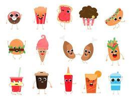 voedselkarakter instellen met verschillende uitdrukkingen