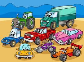 auto en voertuigen stripfiguren groep vector