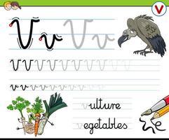 letter v-werkblad voor kinderen schrijven vector