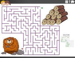 doolhof educatief spel met bever en houtblokken vector