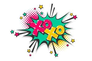 xoxo toespraak bubble popart stripboek tekst