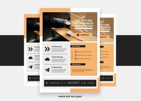 oranje en witte brochure folder afdrukklaar sjabloon vector