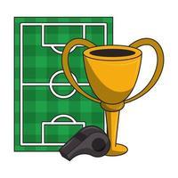 voetbalveld en trofeeontwerp