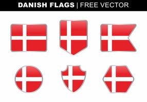 Deense Vlaggen Gratis Vector