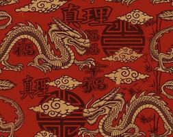 naadloze patroon in Aziatische stijl met draken vector