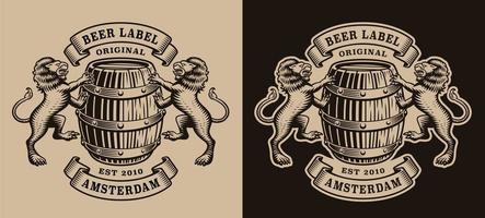vintage brouwerijetiket met vat en leeuwen