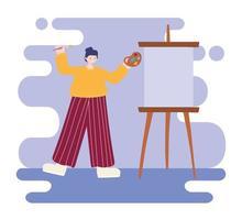 jonge vrouwenkunstenaar die op leeg canvas trekt vector
