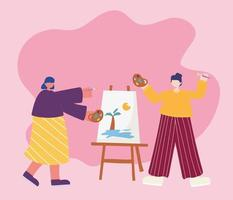 vrouwen die samen schilderen vector