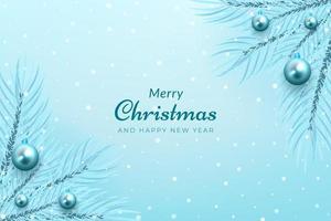 winterviering hoek boomtak en blauw ornament ontwerp