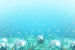 wintervieringsachtergrond met sneeuw, takken en blauwe ornamenten