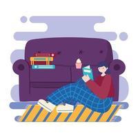 jonge vrouw die binnenshuis leest vector