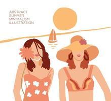 abstract twee jonge vrouwen op strand moderne poster
