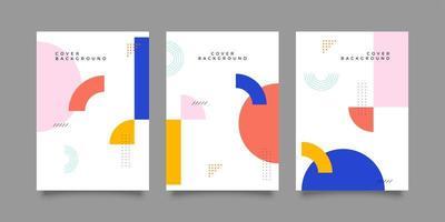 abstracte memphis-stijl kleurrijke omslagcollectie vector