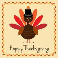 gelukkig thanksgiving ontwerp met kalkoen en bladrand
