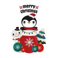 vrolijk kerstfeest wenskaart met pinguïn en sneeuwpop